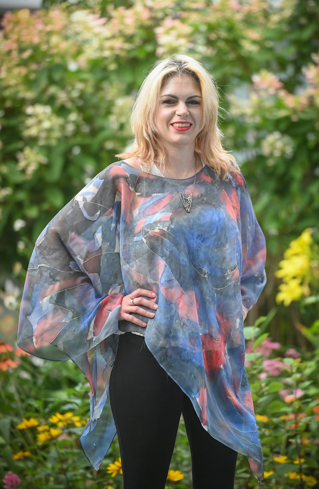 Blue and Red Abstract Silk Poncho - Heart of the Home PA