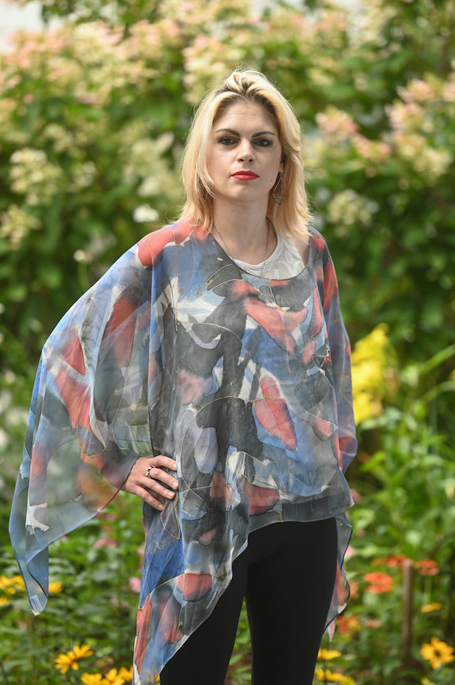 Blue and Red Abstract Silk Poncho