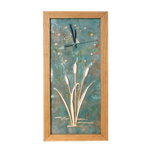 Load image into Gallery viewer, Tall Dragonfly and Cattails Clock