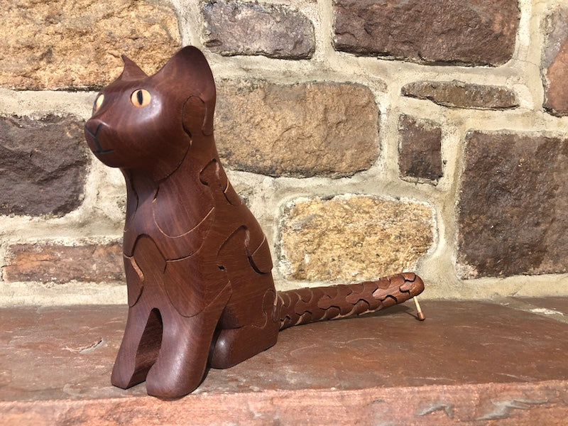 Cat Puzzle with Mouse in Mahogany