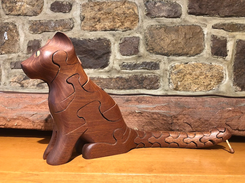 Cat Puzzle with Mouse in Mahogany - Heart of the Home PA