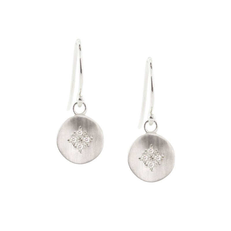 Four Star Wave Charm Earrings with White Diamond - Heart of the Home PA