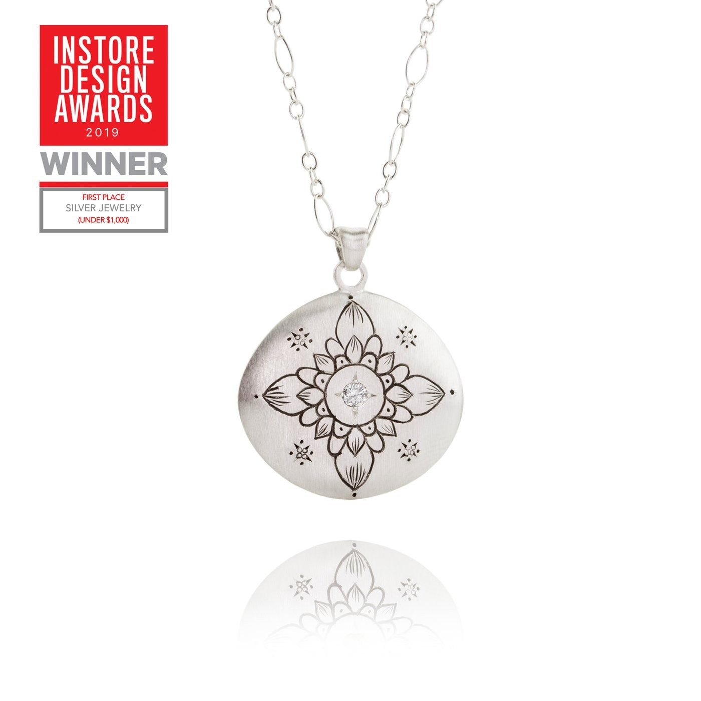 Lotus Pendant with White Diamond - Heart of the Home PA
