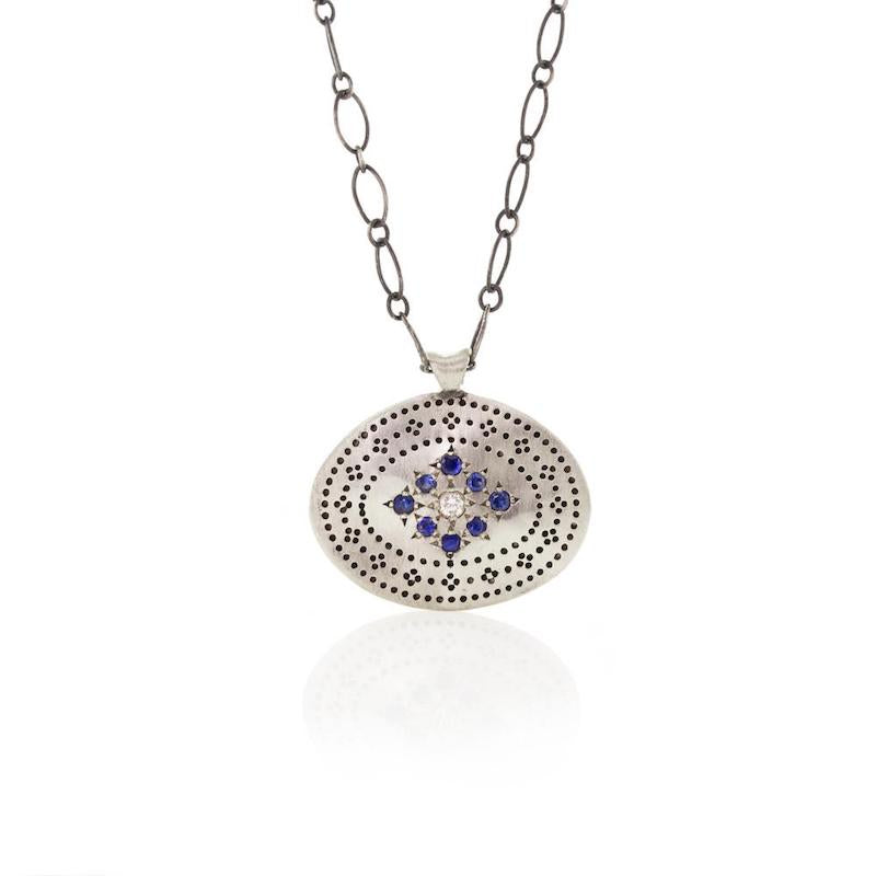Memories Ellipse Pendant with Blue Sapphire - Heart of the Home PA