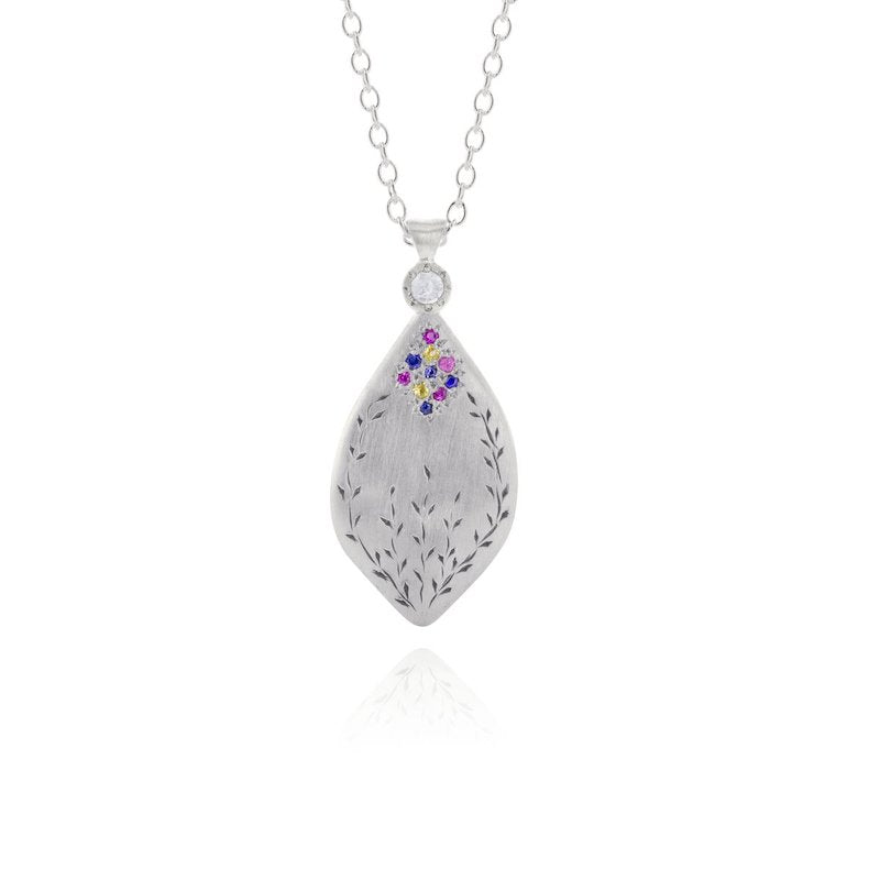 Silver Secret Garden Pendant with Multi Sapphires - Heart of the Home PA