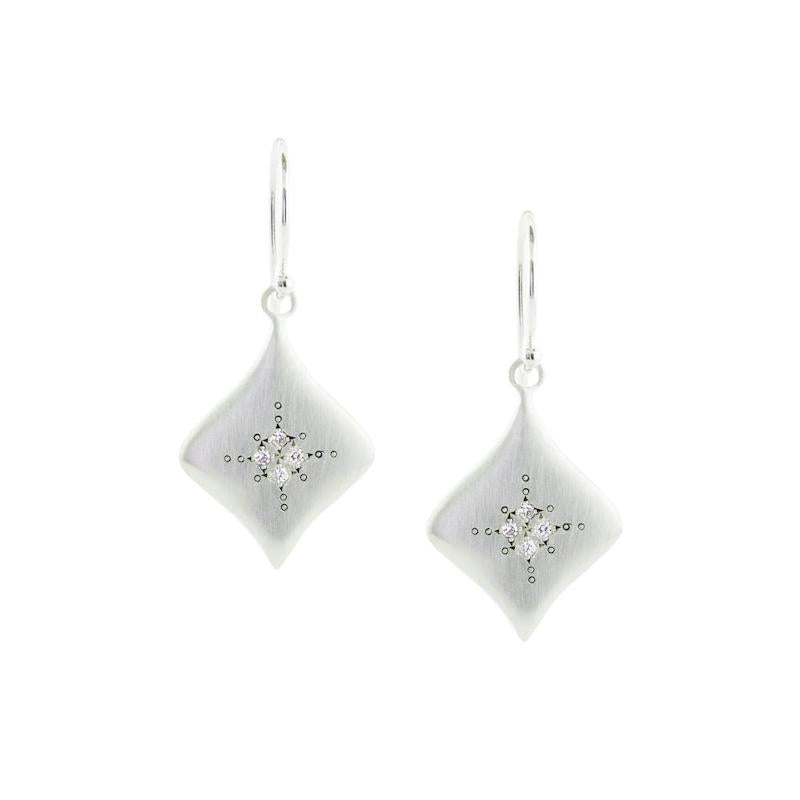 Silver Night Earrings with White Diamond - Heart of the Home PA