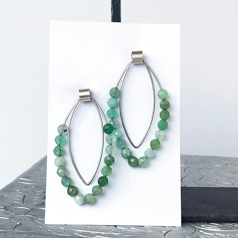 Chrysoprase Marquise Post Earrings