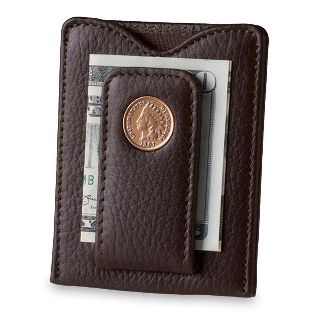 Indian Head Penny Money Clip Wallet in Brown - Heart of the Home PA