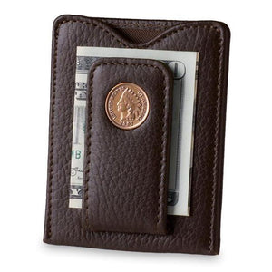 Indian Head Penny Money Clip Wallet in Brown