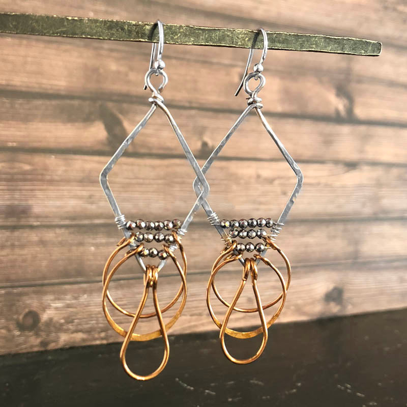 Diamond Shaped Dangle Earrings - Heart of the Home PA