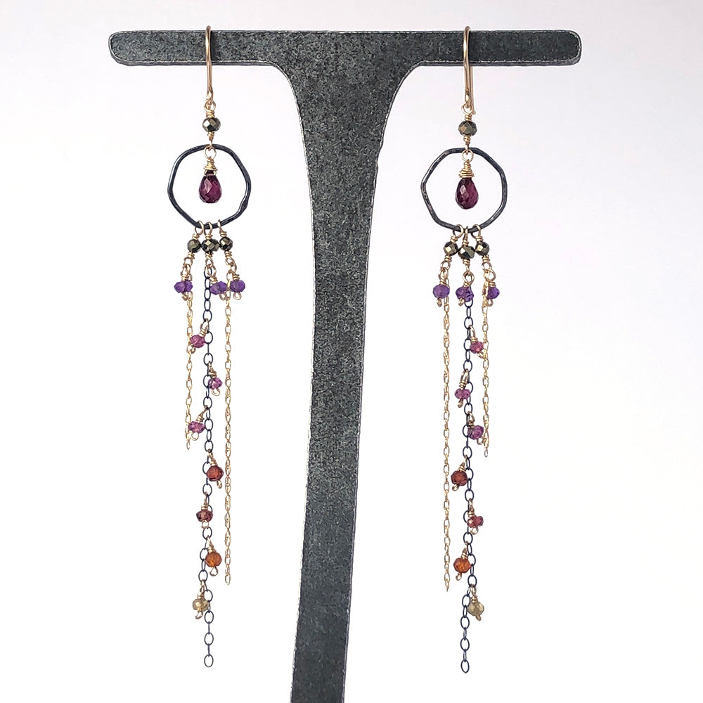 Extra Long Chain Dangle Earrings in Passion - Heart of the Home PA