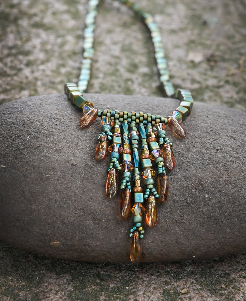 Fringed Green Necklace - Heart of the Home PA