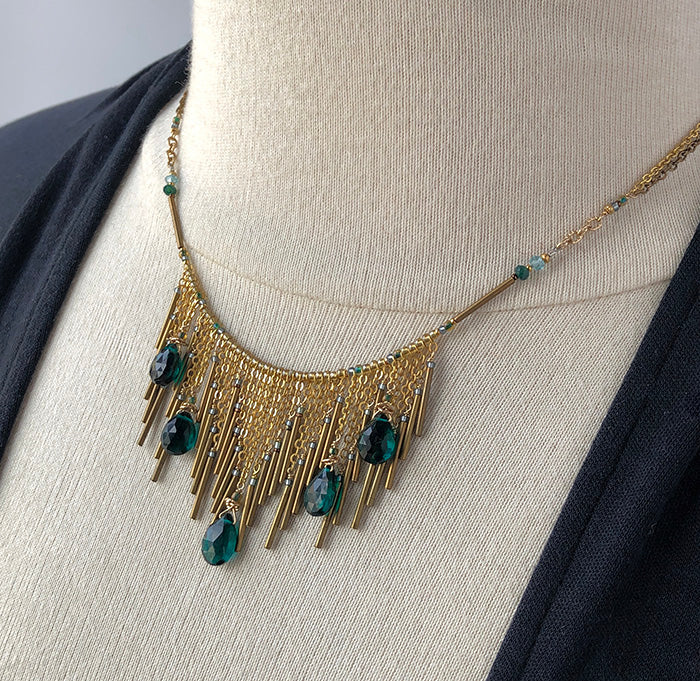 Green Fringe Statement Necklace - Heart of the Home PA
