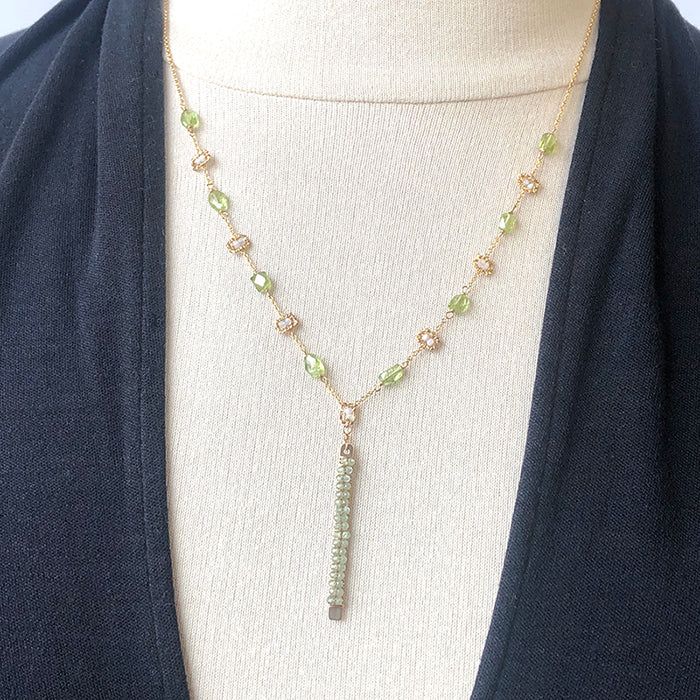 Green Gemstone Bar Necklace - Heart of the Home PA