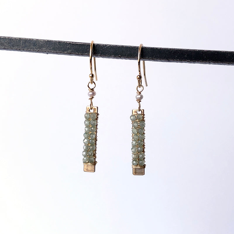 Green Kyanite Bar Earrings - Heart of the Home PA