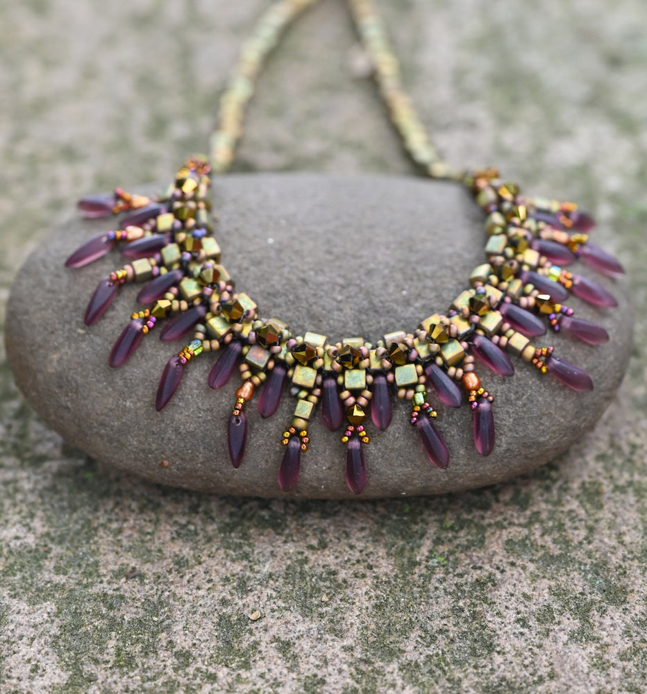 Green & Mauve Collar Necklace - Heart of the Home PA