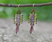 Load image into Gallery viewer, Green & Mauve Woven Earrings
