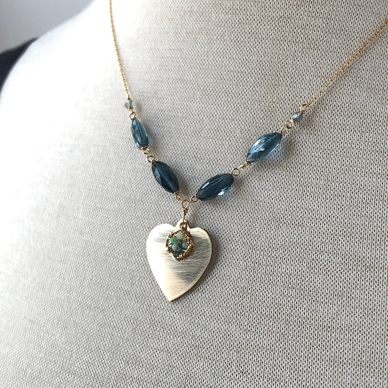 Heart Necklace with London Blue Topaz - Heart of the Home PA
