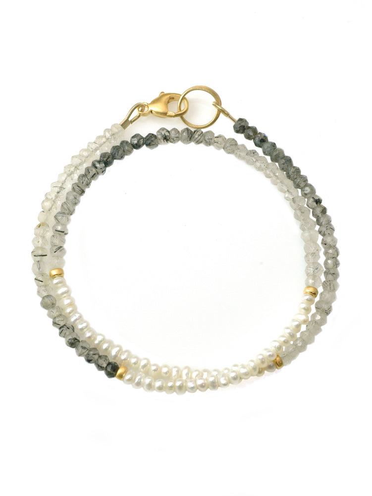 Pearl & Quartz Double Wrap Bracelet - Heart of the Home PA