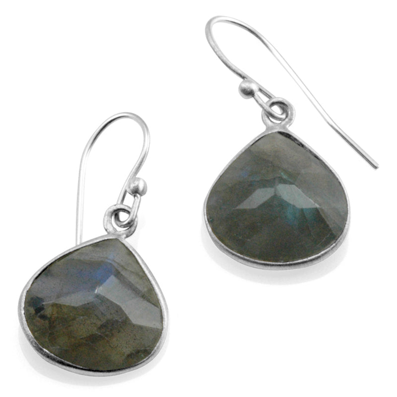 Labradorite Teardrop Station Earrings - Heart of the Home PA