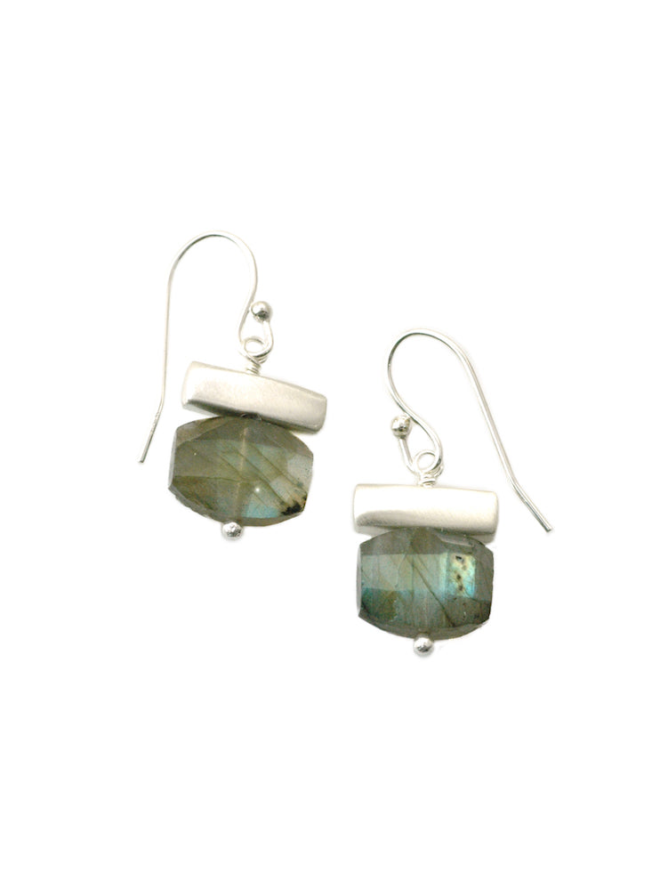 Labradorite and Silver Bar Earrings - Heart of the Home PA