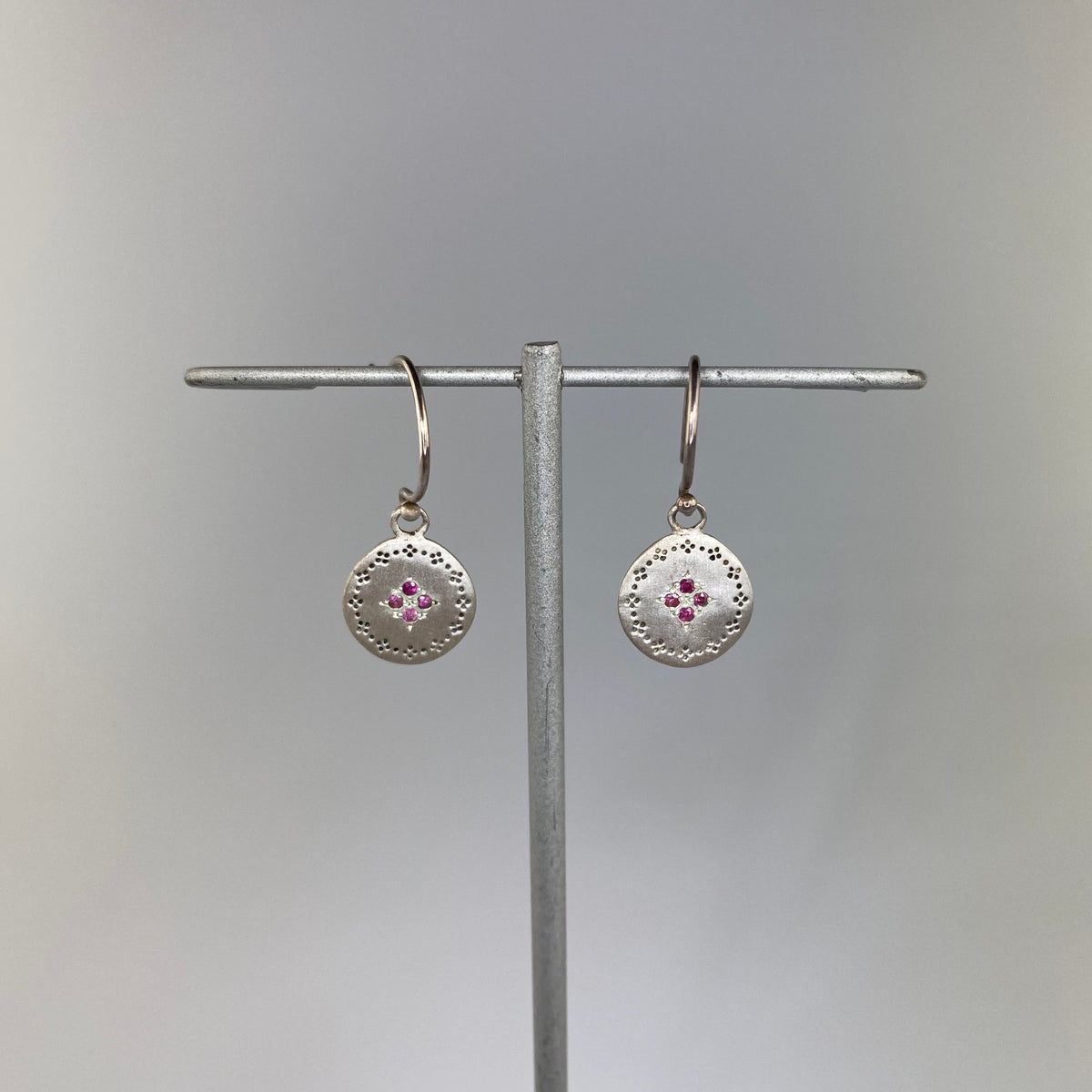 Four Star Nostalgia Earrings with Pink Sapphire - Heart of the Home PA