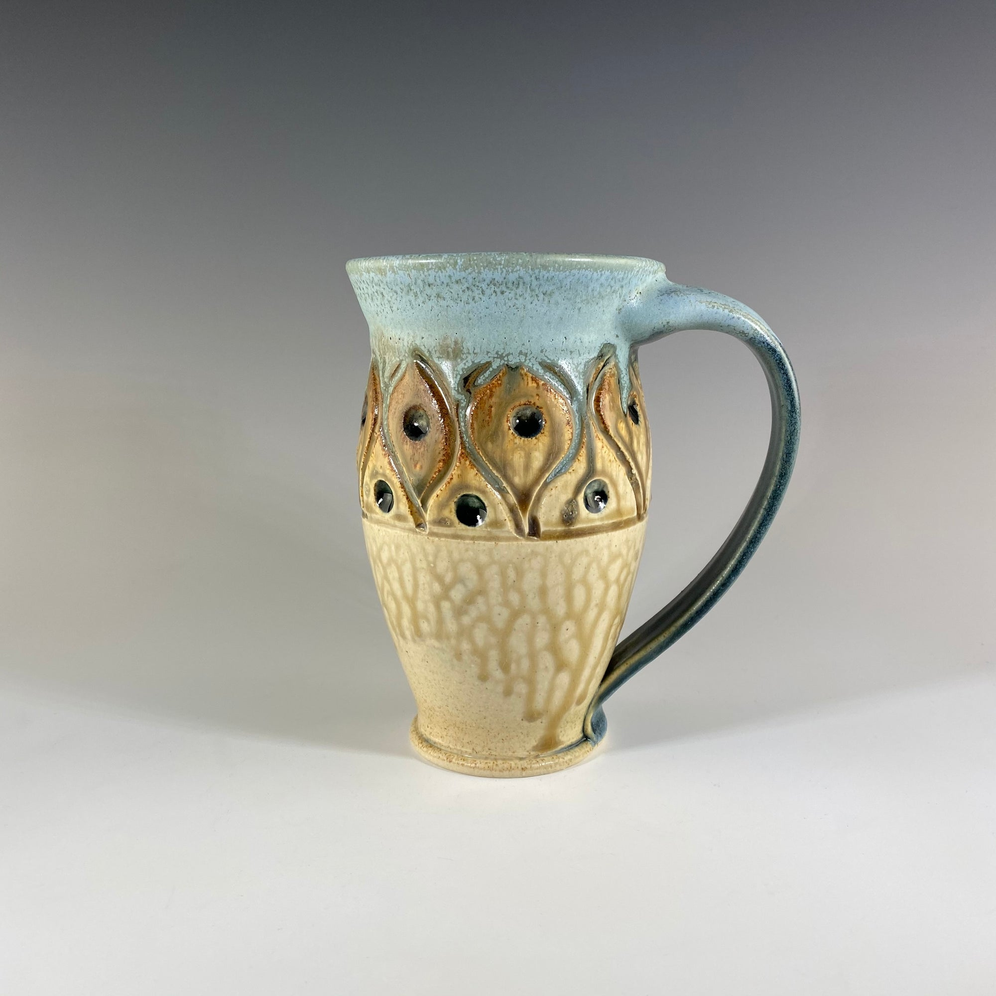 Large Carved Mug in Teal and Tan with Dots - Heart of the Home PA