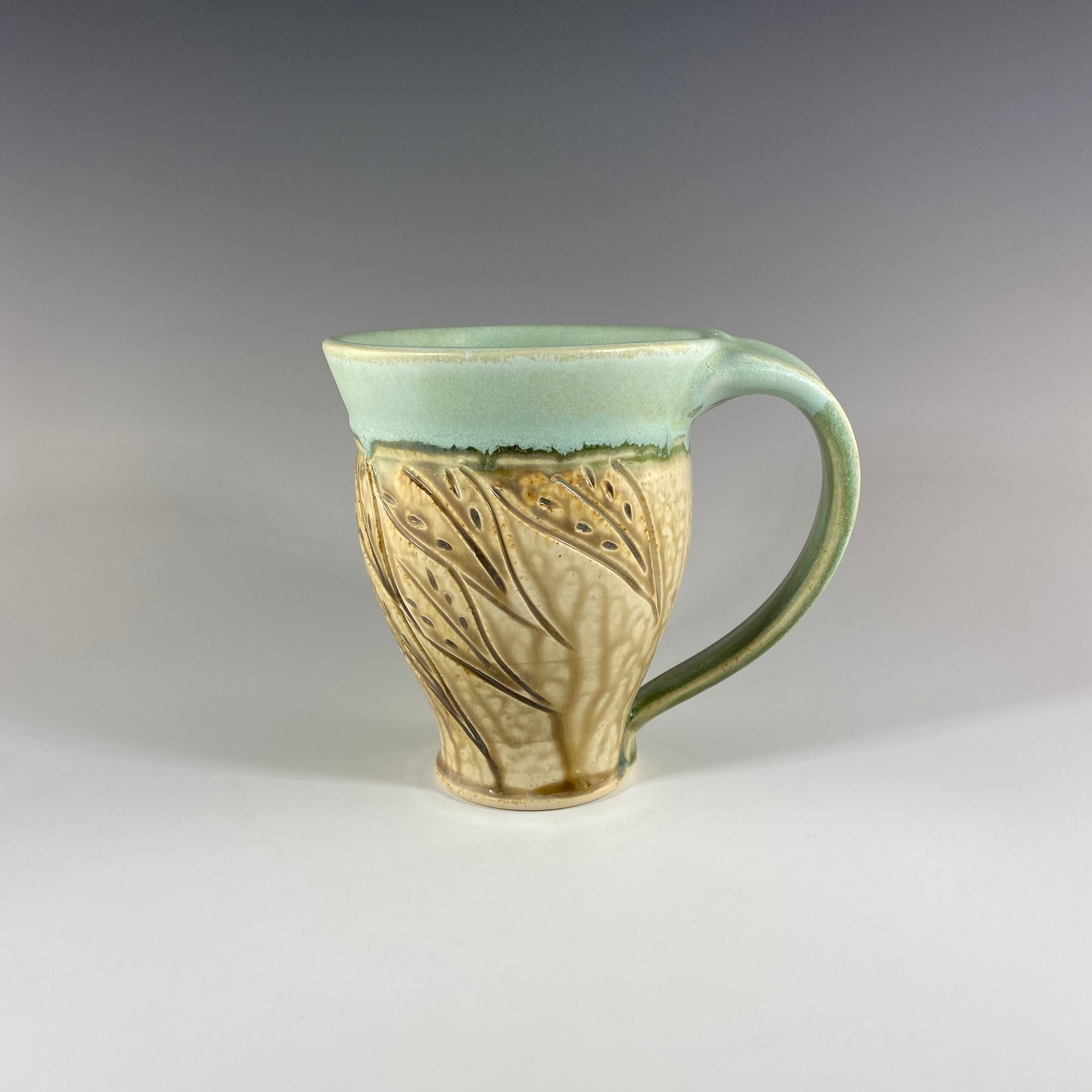 Carved Mug in Light Green and Tan with Leaves - Heart of the Home PA