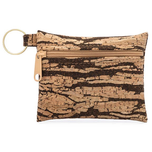 Key Chain Cork Pouch in Bark Print - Heart of the Home PA