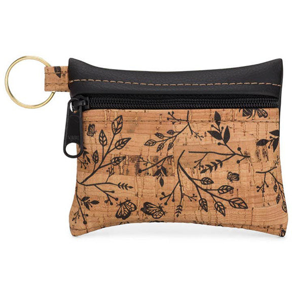 Key Chain Cork Pouch in Black Print Front - Heart of the Home PA