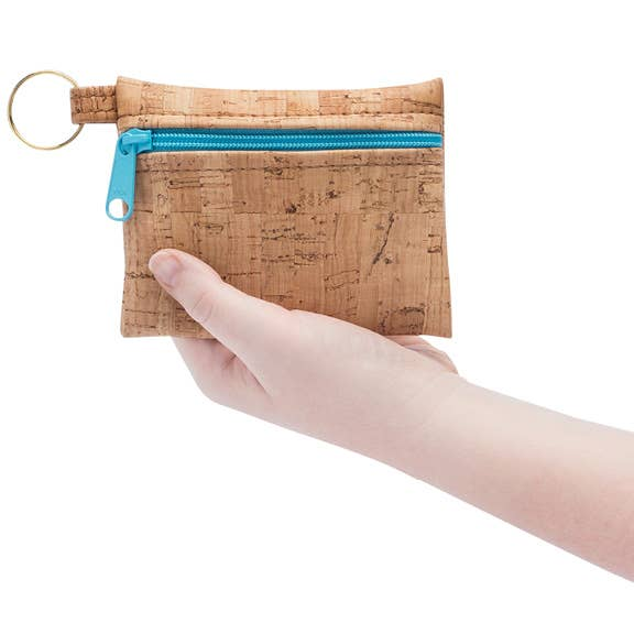Key Chain Cork Pouch in Navy Print Front - Heart of the Home PA
