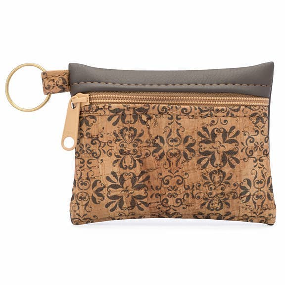 Key Chain Cork Pouch in Mammoth Print Front - Heart of the Home PA