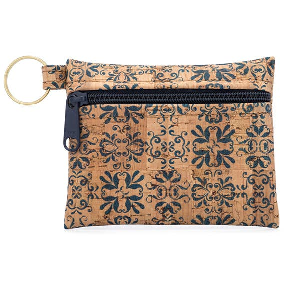 Key Chain Cork Pouch in Navy Print All-Over - Heart of the Home PA