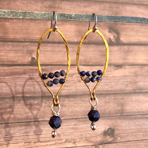 Lapis Oval Dangle Earrings