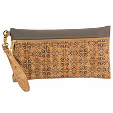 Load image into Gallery viewer, Large Cork Wristlet in Mammoth Grey Print Front