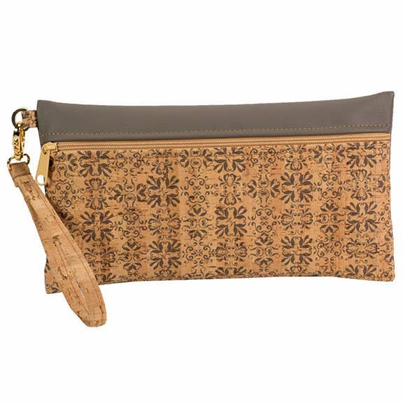 Large Cork Wristlet in Mammoth Grey Print Front - Heart of the Home PA
