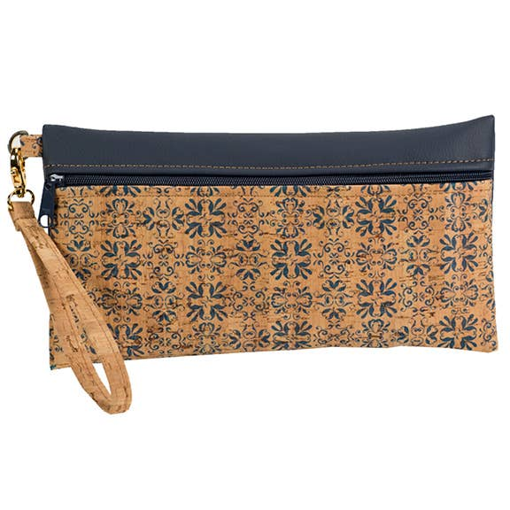 Large Cork Wristlet in Navy Print Front - Heart of the Home PA