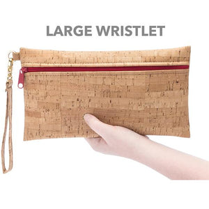 Large Cork Wristlet in Mammoth Grey Print Front