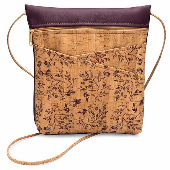 Lively Criss Cross Pocket Cork Bag in Purple Print - Heart of the Home PA
