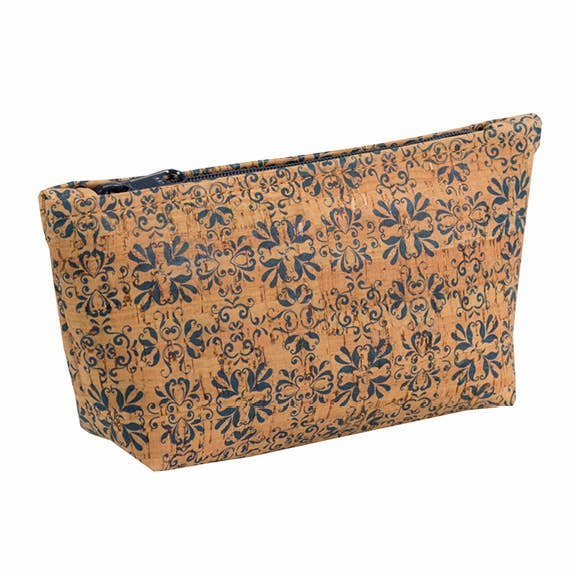 Medium Cork Pouch in Navy Print - Heart of the Home PA