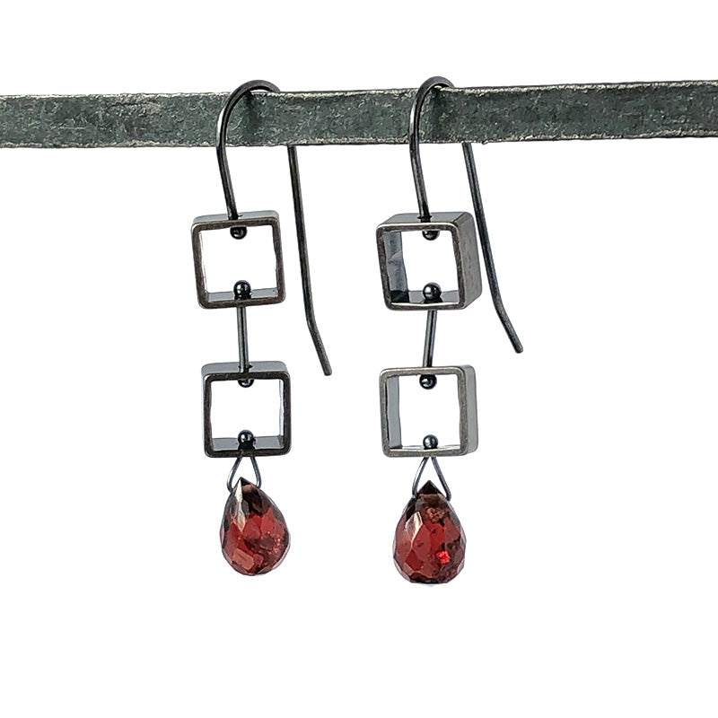 Mini Two Squares Garnet Drop Earrings - Heart of the Home PA