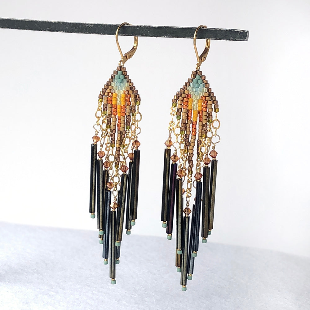 Multicolor Stitched Beaded Earrings - Heart of the Home PA