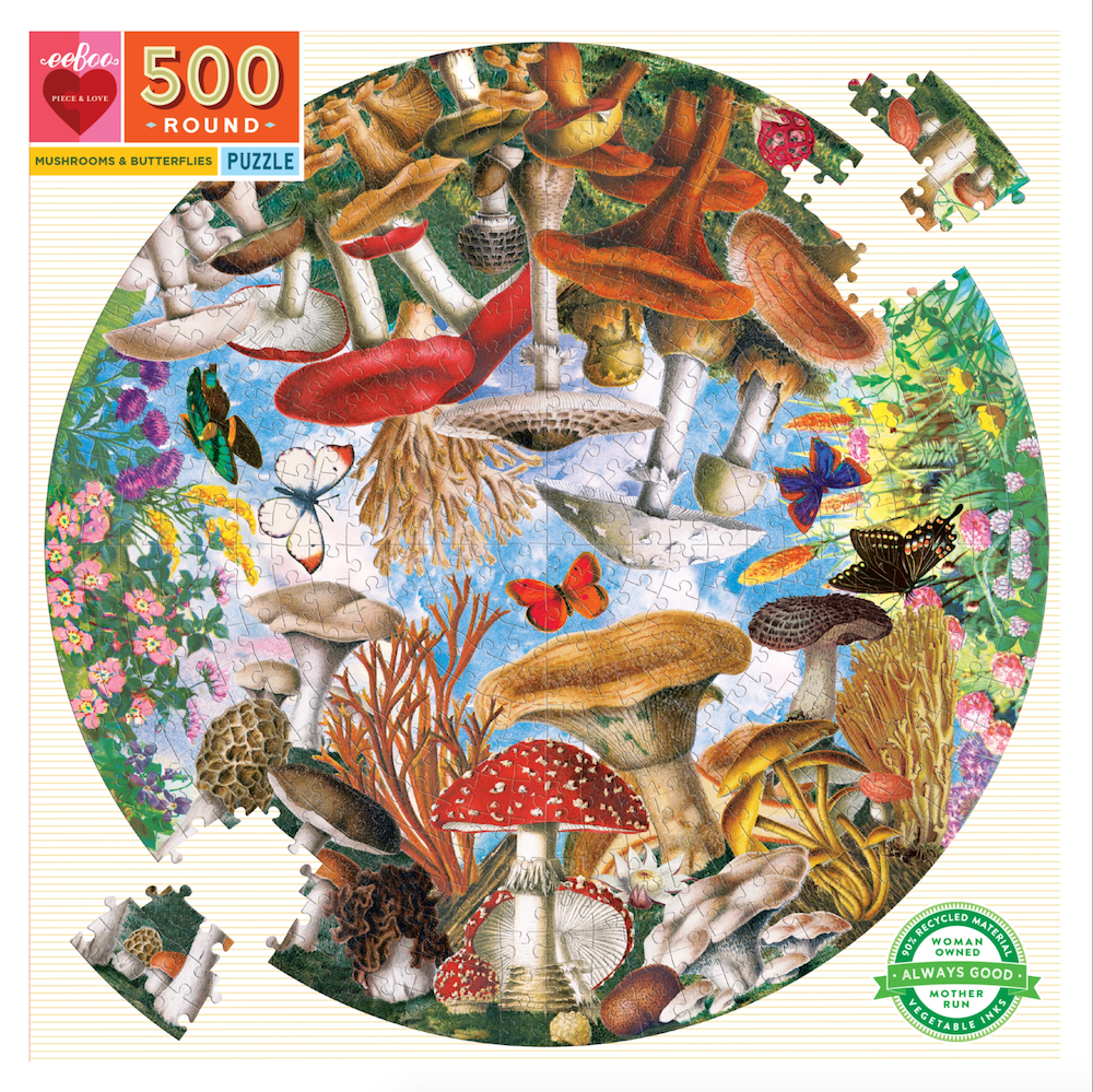 Mushrooms and Butterflies 500 Piece Round Puzzle - Heart of the Home PA