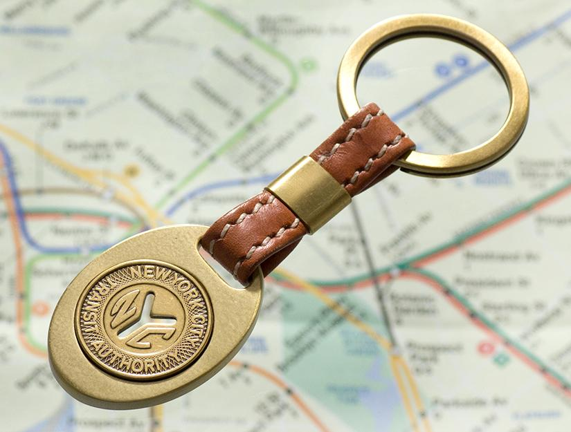 New York Transit Token Leather Key Ring - Heart of the Home PA