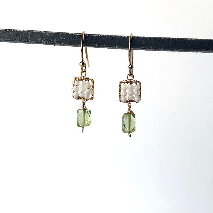 Opal and Peridot Woven Square Earrings - Heart of the Home PA