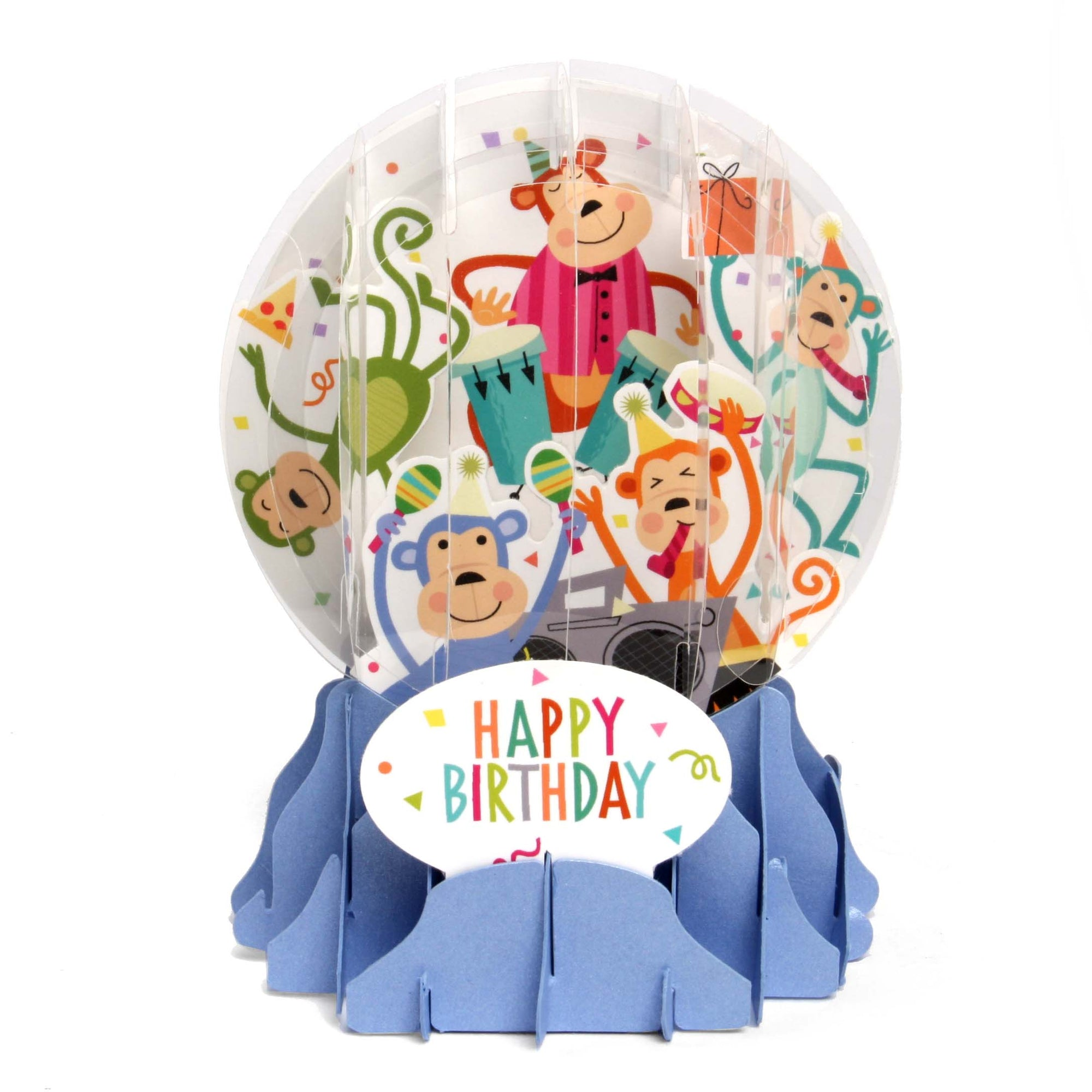 Birthday Monkeys Pop-Up Snow Globe Card - Heart of the Home PA