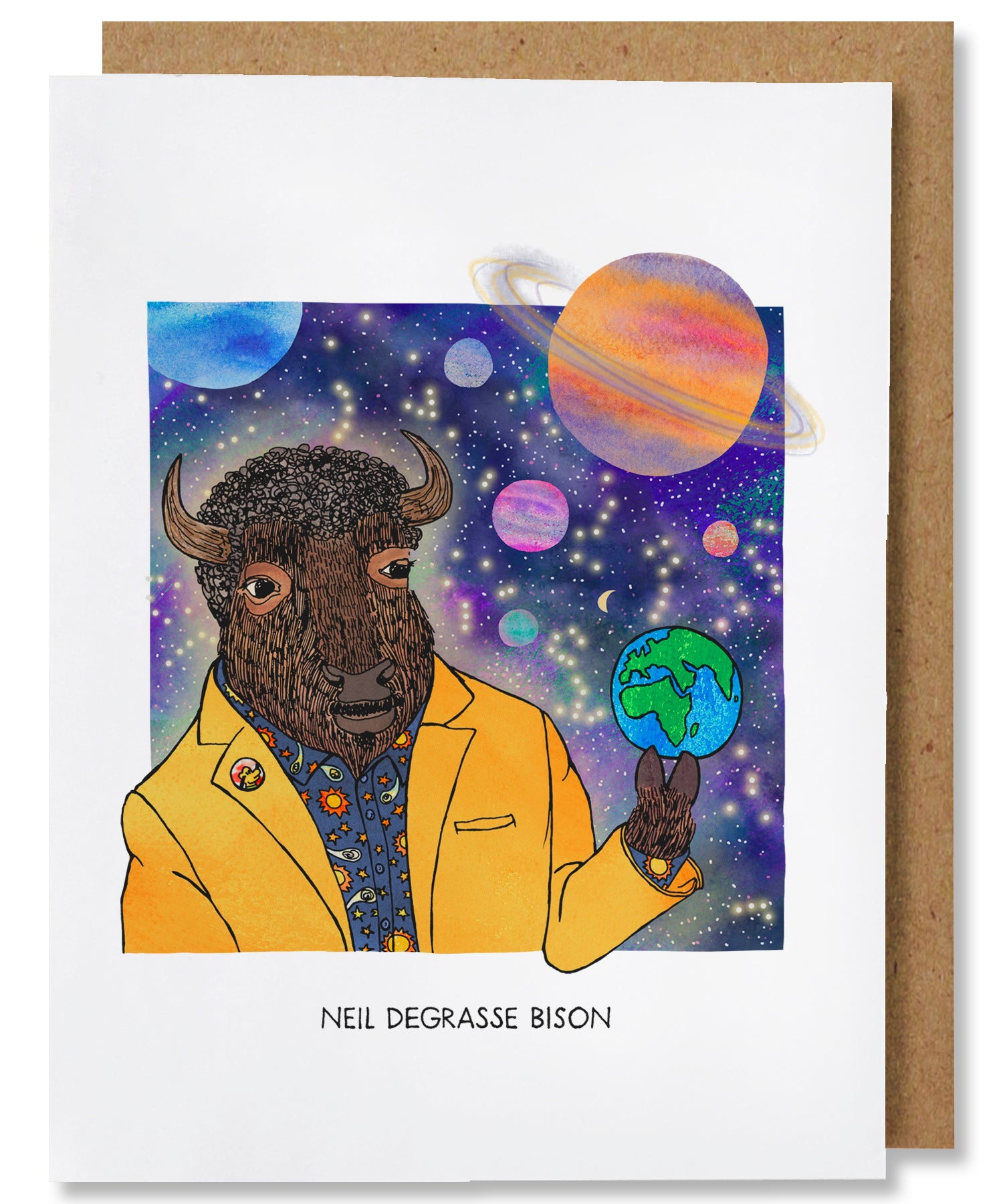 Neil Degrasse Bison Greeting Card - Heart of the Home PA