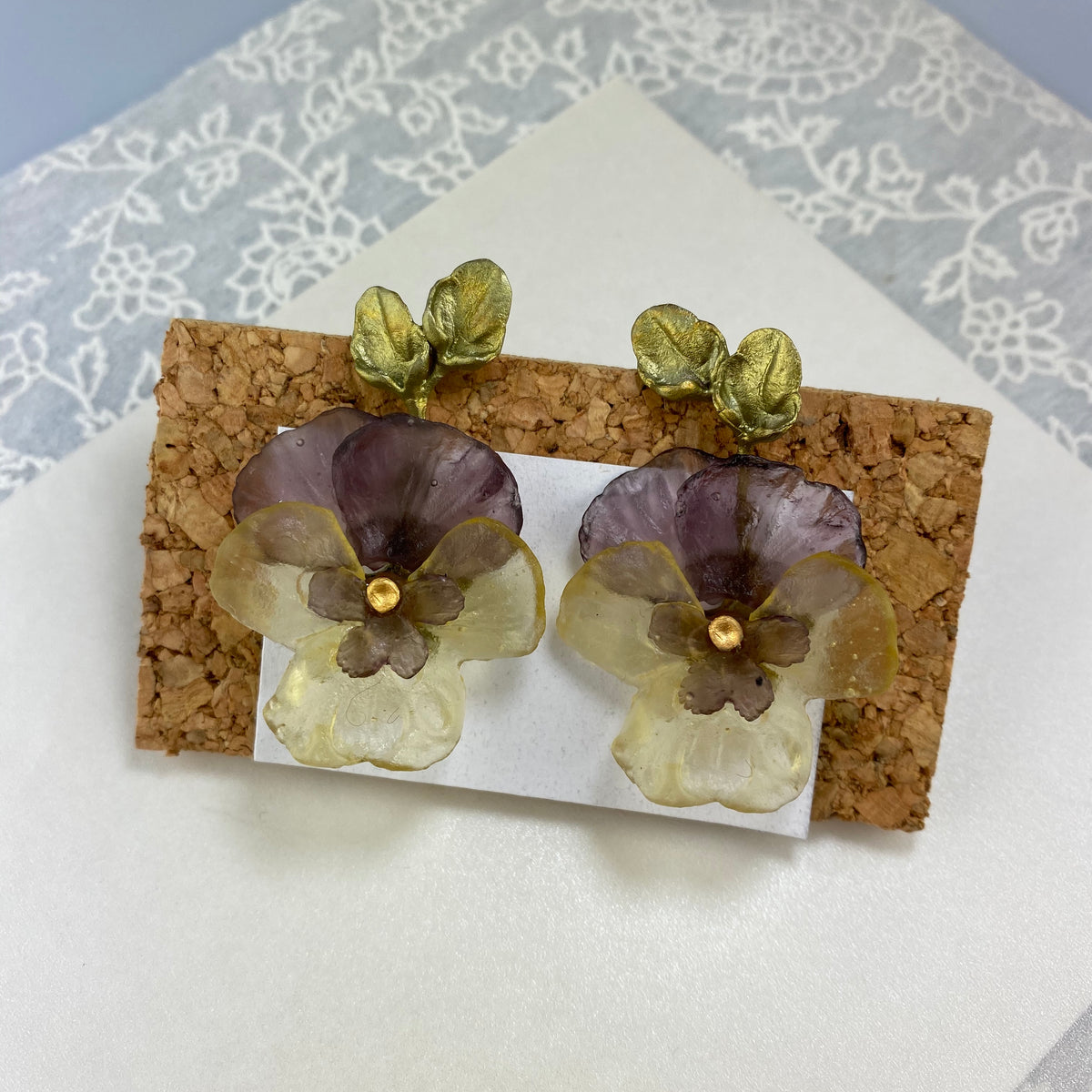 Pansies Earrings - Large Post - Heart of the Home PA