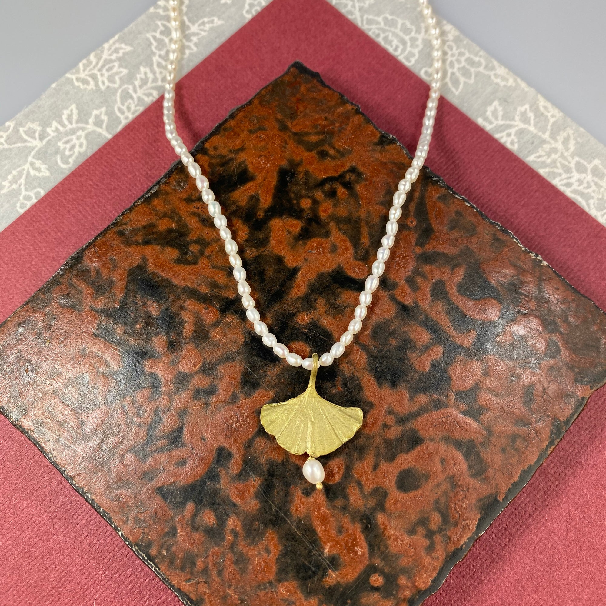 Ginkgo Pearl Drop Necklace - Heart of the Home PA