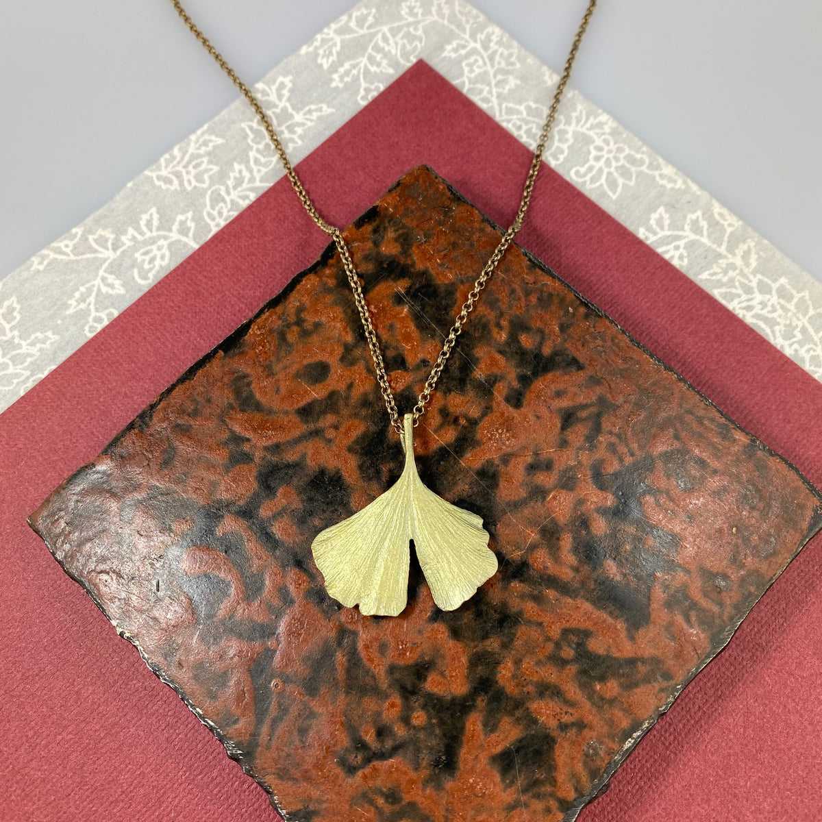 Ginkgo Large Single Leaf Pendant